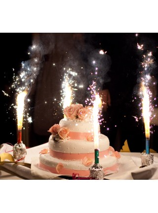 """Свеча """"Фонтан Цветные Искры"""" для торта 12 см"""