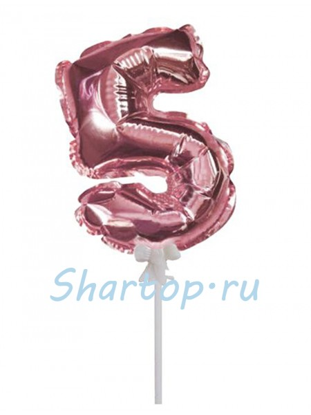 Цифра 5 (топпер) для торта, розовое золото, на палочке, 18 см.