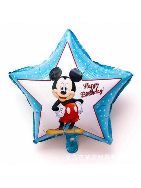 Фольгированная звезда Микки малыш 1-й День рождения 46 см.