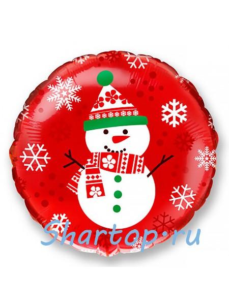 """Фольгированный шар с гелием """"Снеговик"""" 46 см"""