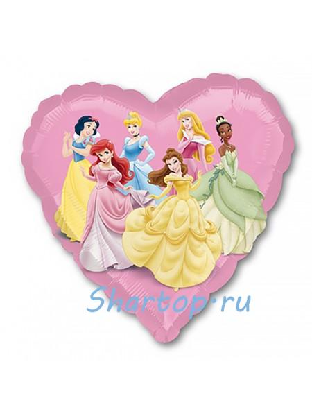 """Фольгированный шар сердце """"STREET Принцессы"""" 46 см."""