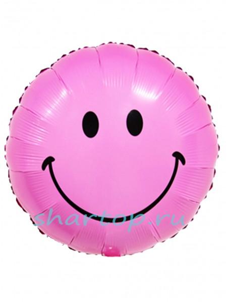 """Фольгированный шар с гелием """"Смайл Розовый"""""""