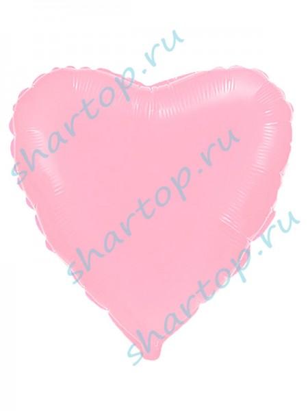 """Фольгированное Сердце """"Светло-Розовое"""""""