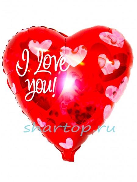 """Фольгированное сердце """"Love Красное"""""""