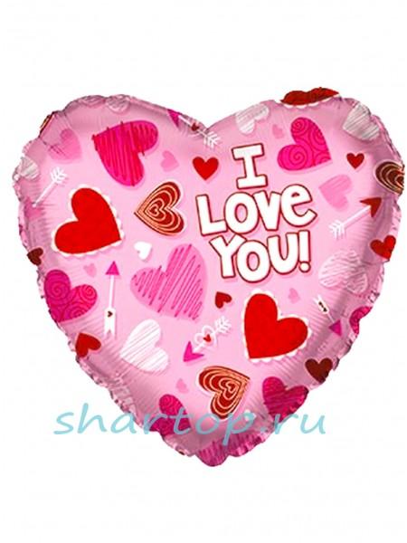 """Фольгированное сердце """"LOVE Розовое"""""""