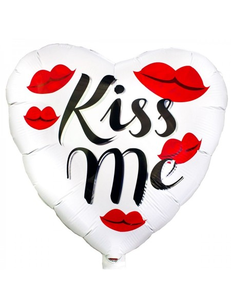 """Фольгированное сердце """"Kiss me - Поцелуй меня"""" 46 см"""